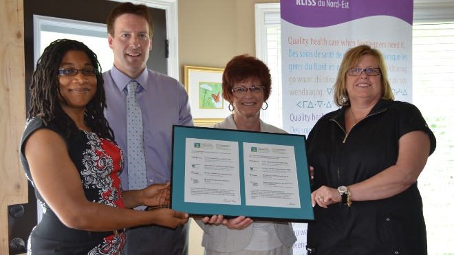 From left are Shana Calixte, executive director of the Northern Initiative for Social Action, Paul Heinrich, CEO of the North Bay Regional Health Centre, Louise Paquette, CEO of the North East Local Health Integration Network (LHIN), and Marion Quigley, CEO of the local CMHA.