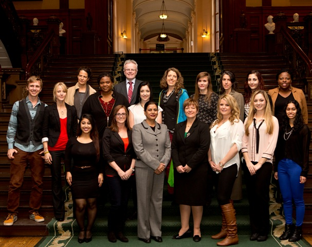 Minister Piruzza with CMHO Youth Action Committee at Queen's Park .