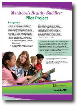 Cover of Manitoba's Healthy Buddies Pilot Project report. Image links to report PDF.