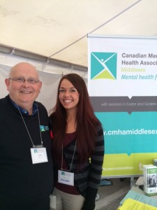Volunteers Larry (CMHA Oxford) and Michelle (CMHA Middlesex) staffing the information kiosk at the Memorial Cup.