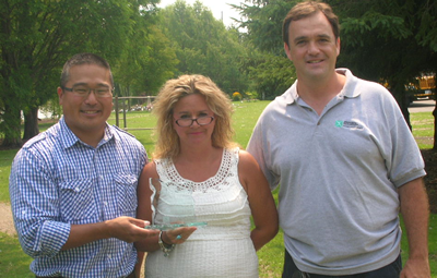 From left to right: CMHA Ontario Communications Director Joe Kim; Woodstock Sentinel Review Reporter Heather Rivers; CMHA Oxford Executive Director Mike McMahon.