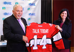 OHL Commissioner David Branch and CMHA Ontario CEO Camille Quenneville announce Talk Today