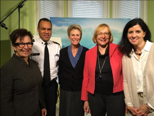 Photo of Catherine Zahn, CEO of Centre for Addictions and Mental Health; Peter Sloly, Deputy Chief, Toronto Police; Gail Czukar, CEO of Addictions and Mental Health Ontario; Susan Pigott, chair of Mental Health and Addictions Leadershop Advisory Council; and Camille Quenneville, CEO of CMHA Ontario.
