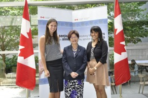 From left to right: Jennifer Hardy of CMHA Ontario, the Honourable Alice Wong and Ahila Poologaindran of Toronto Community Housing at the New Horizons funding announcement this week.