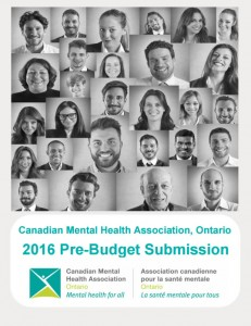 CMHA Ontario Pre Budget Submission 2016 cover