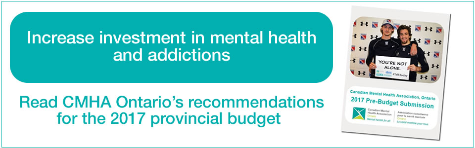 Image which reads 'increase investment in mental health and addictions'