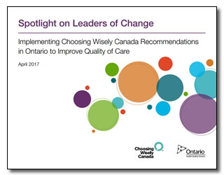 Choosing Wisely in Ontario report cover