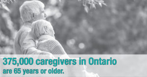 Graphic depicting that 375,000 caregivers in Ontario are 65 years or older.