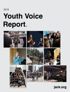 Cover of Jack dot org Youth Voice Report featuring youth speaking and participating in activities