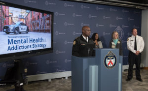 Photo of launch of The Mental Health & Addictions Strategy, with Chief Mark Saunders, Acting TPSB Chair Uppala Chandrasekera, Empowerment Council Executive Director Jennifer Chambers and Inspector Chris Boddy